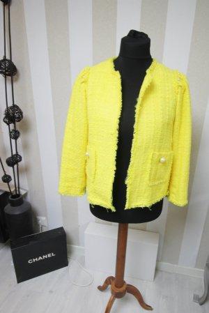 ZARA Blazer Jacke Tweed Boucle Look mit Perlen XL