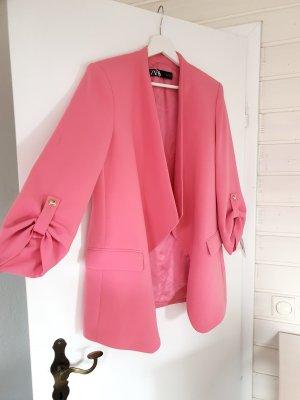 Zara Blazer mit Überschlag Kaugummirosa Rosa Pink Knöpfe Gold