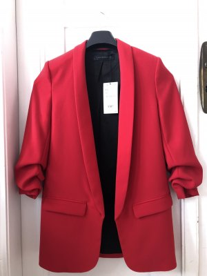 Zara Long Blazer red