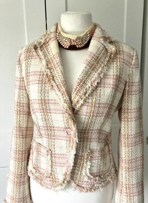 Zara Blazer Tweedblazer Größe 42 rosa creme beige