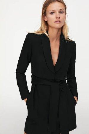 Zara - Blazerkleid mit Gürtel in Schwarz (ungetragen)