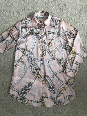 Zara Blogger Bluse Chains Ketten rosa beige