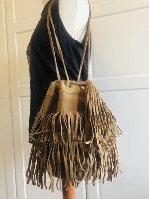 Zara Sac à franges brun