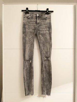 Zara Blogger High Rise Super Skinny Jeans XS 34 Grau