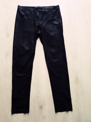 Zara Woman Pantalón de cuero negro
