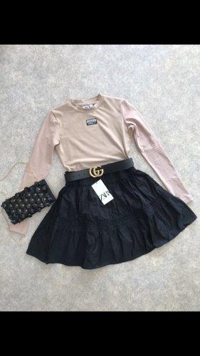 Zara Spódnica z tafty czarny