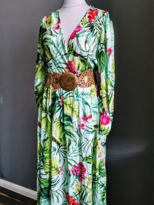 Zara Blogger Tropical Maxi Dress Kleid wassergrün