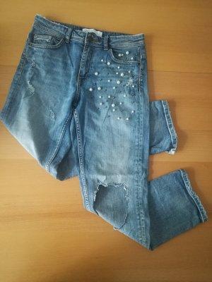 Zara Blue Destroyed Jeans mit Perlen