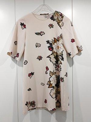 Zara Blumen Kleid Creme Gr. S