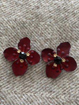 Zara Boucle d'oreille incrustée de pierres rouge carmin