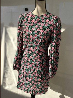 Zara blumenkleid sommerkleid knielang Puffärmel neu mit Etikett bunt S