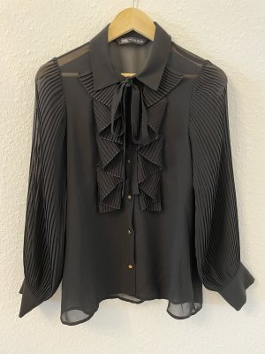 Zara Blusa con lazo negro-color oro