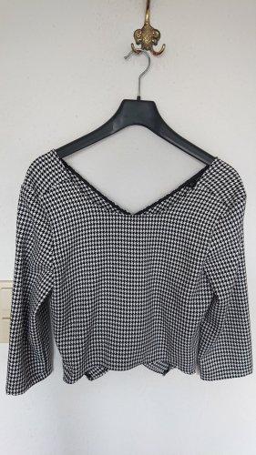 Zara Basic Blusa a cuadros blanco-negro