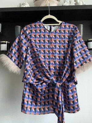 Zara Woman Blusa a cuadros azul acero-púrpura
