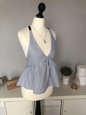 Zara Ruffled Blouse white-azure