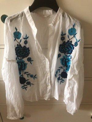 Zara Bluse 40 L neu weiß Stickerei Blumen