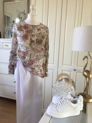Zara Bluse Allover Blumenprint rosé bunt Gr. XL