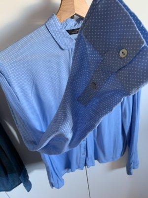 Zara Bluse blau Punkte gepunktet oversized