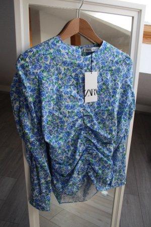 Zara Bluse Blumen blau S
