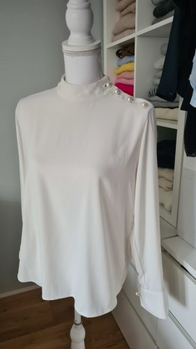 Zara Bluse Business Weiß Perlen M 38 Shirt
