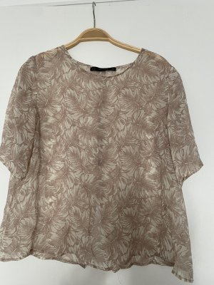 Zara Bluse durchsichtig Shirt beige flower floral XL oversize