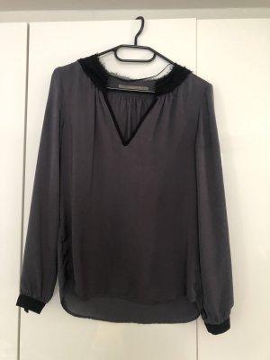 Zara Blusa in seta grigio-nero