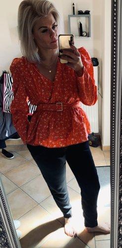 Zara Blusa cruzada rojo claro