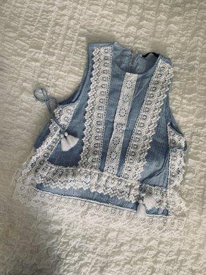Zara Blusa senza maniche azzurro