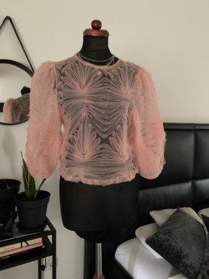 Zara Bluse floral Volants Rüschen Puffärmel rosa Rose