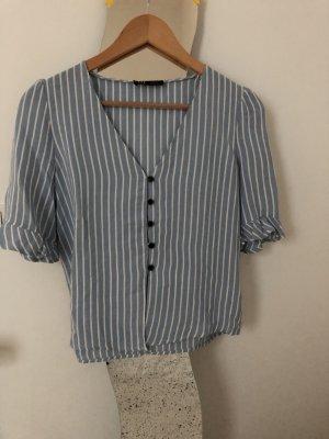 Zara Short Sleeved Blouse blue-white