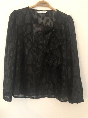 Zara Woman Blusa brillante nero