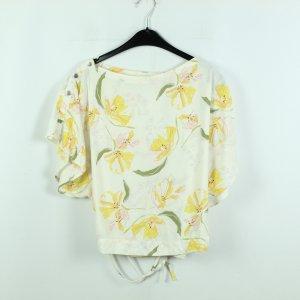 Zara Bluse Gr. L weiß gelb geblümt (20/07/032*)