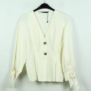 Zara Woman Blouse en lin blanc cassé-blanc