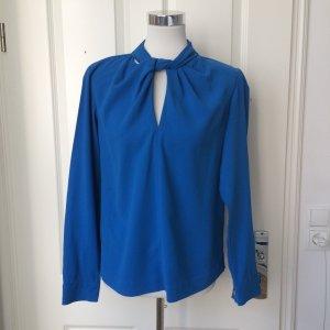 Zara Blusa de cuello alto azul Algodón