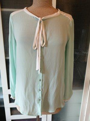Zara Tie-neck Blouse sage green-natural white
