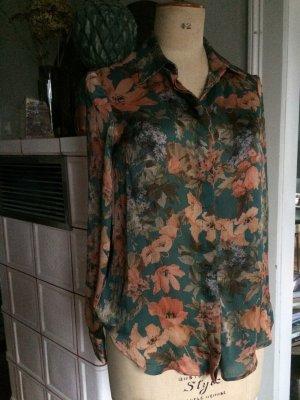 Zara  Bluse  Gr.S/36-38, Floral, Grüntöne, 1xgetragen, Langarmbluse