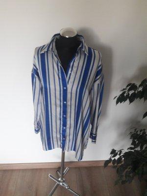 zara bluse gr  s weiß blau