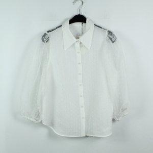 ZARA Bluse Gr. XL weiß gepunktet transparent (20/02/502)