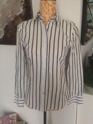Zara Bluse grau weiß gestreift Gr XS