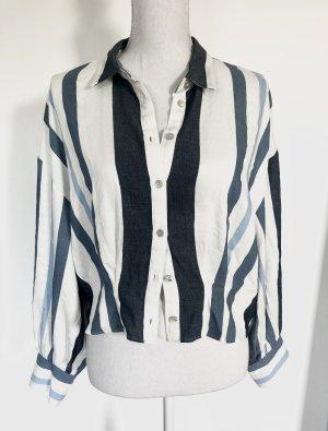 Zara Bluse Hemd L 40/42 Oversize Blau Weiß