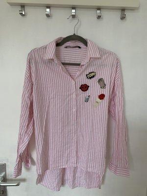Zara Bluse, Hemd mit Patches rosa gestreift, Gr. S
