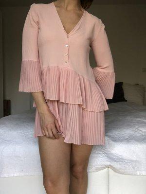 Zara Bluse Kleid Plissee Mini rosa XS oversize