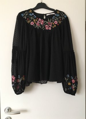 Zara Bluse langarm Blumen Stickereien schwarz bunt