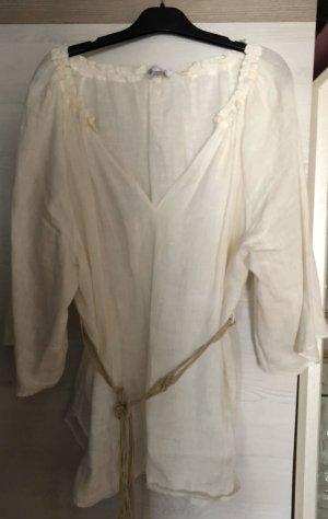 Zara Woman Blouse en lin blanc cassé