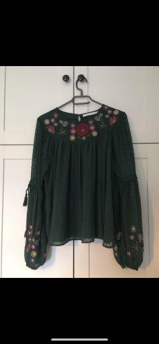 Zara Bluse mit Blumendetails grün