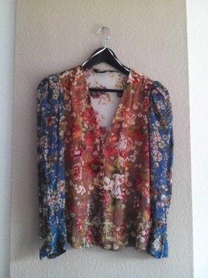 Zara Bluse mit Blumendruck in Patchwork Optik, Größe M, neu
