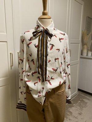 Zara Basic Bluzka z kokardą Wielokolorowy Wiskoza