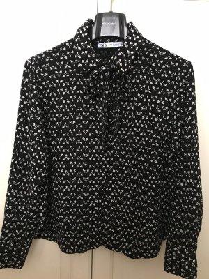 Zara Blouse avec noeuds blanc-noir