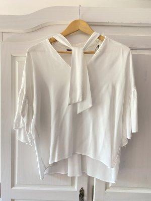 Zara Bluse mit Schleife in weiß