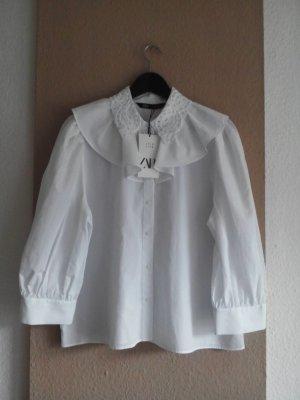 Zara Bluse mit Stickerei und Volant aus 100% Baumwolle, Größe XL, neu